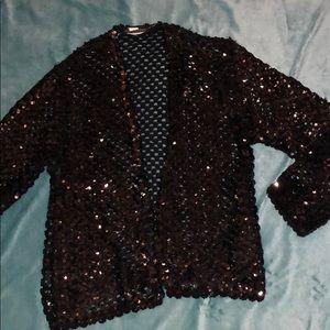 Vintage solid black sequin shrug cardigan medium